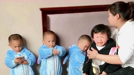 三胞胎把小姨打哭,妈妈一问谁打的,接下来太意外了,真逗