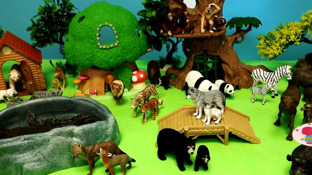 野生动物玩具儿童动物园斑马大熊猫蘑菇屋
