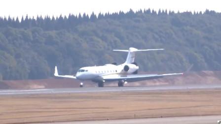 湾流G650私人飞机,降落成田机场,有钱人的最爱