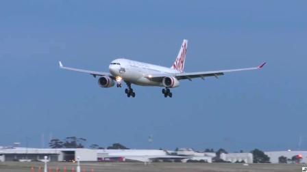 维珍航空A330客机降落墨尔本机场,庞然大物噪音却很小