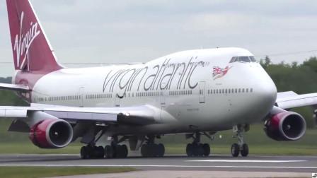 维珍航空波音747重型客机降落曼彻斯特国际机场,落地时噪音很大