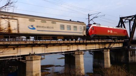 京沪铁路浍河大桥电力X105次交汇K290次