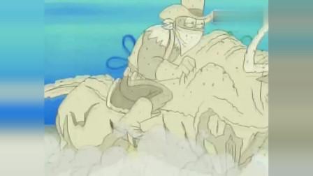 《海绵宝宝》海绵宝宝把一大堆石头砸向了派大星的马的雕塑