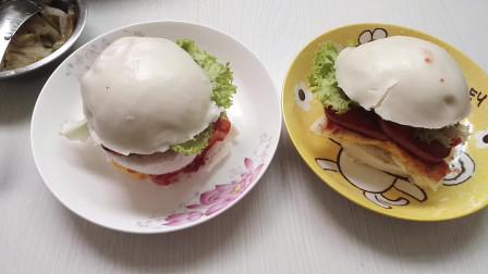 早餐用新平底锅做中式汉堡包,其实就是馒头夹火腿鸡蛋和生菜
