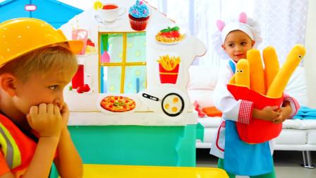 萌娃小可爱们可真会玩呢!两个小家伙真是萌萌哒!—萌娃:这是您要的炸薯条!