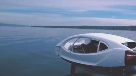 能够飞行水面的水上计程车,充满未来感的设计,就像个智能机器人
