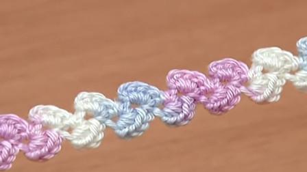 钩针花绳系列,一款波浪绳教程,简单钩出漂亮又实用的花绳!