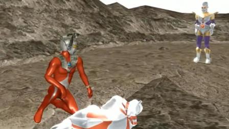 看到艾斯被奥特之王打伤,泰罗发怒了,用飞踢解决了三个奥特曼