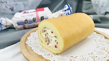 自己动手给孩子做美食,大白兔酸奶蛋糕卷,教程来啦,健康好吃收藏