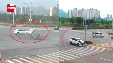 广西一货车与一小汽车相撞侧翻,原来是路口信号灯不工作