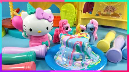 灵犀小乐园之美食小能手 凯蒂猫的创意奶油蛋糕,小马甜品屋的多彩奶油