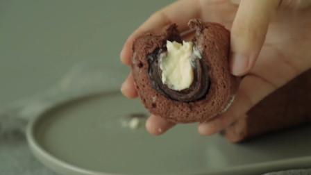 奶油巧克力糯米蛋糕卷 入口绵绵 软糯香甜 巧香浓郁