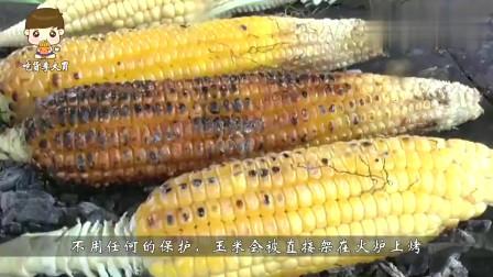 印度街头小吃烤玉米, 玉米已经被烤黑, 擦点柠檬就吃