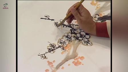 中国画视频教程之梅花的疏密组合与虚实画法