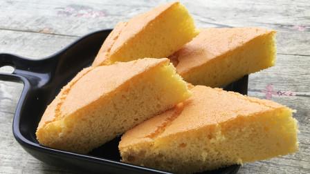 1碗玉米面,4个鸡蛋,教你做蓬松绵软的蛋糕,学会了早餐就吃它了