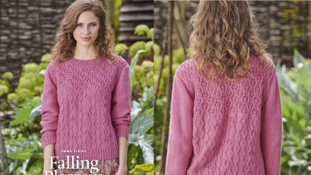一款圆领针织衫花样的编织方法,立体修身的竖纹,简洁大方花样编织图解