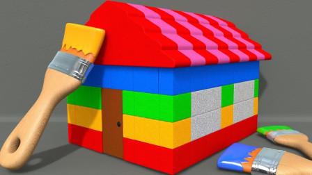 绘画彩虹屋与学习颜色可口可乐瓶儿童英语儿歌