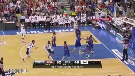 美国男篮VS西班牙男篮,科比无解后仰跳投拯救球队,解说疯狂了