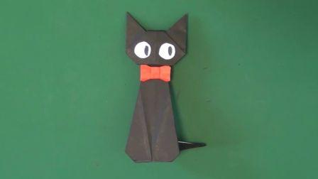 教你折纸《魔女宅急便》里的黑猫吉吉,可以立在桌子上,萌萌哒!
