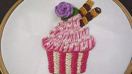 「DIY刺绣系列」教你学习如何刺绣可爱的蛋糕图案,非常简单