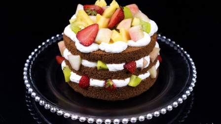 西点蛋糕培训制作水果扒蛋糕超多水果看到你流口水