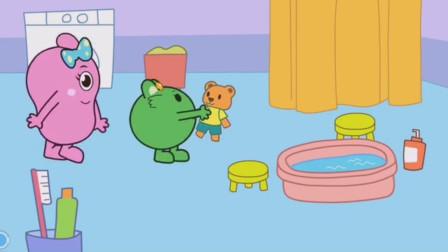 粉咕力和绿咕力给脏脏的小熊洗澡!咕力咕力游戏