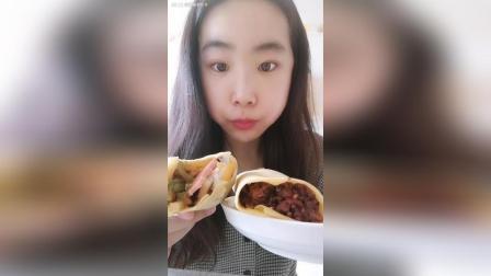 椰汁紫米山药沙拉煎饼火腿土豆丝鸡蛋煎饼