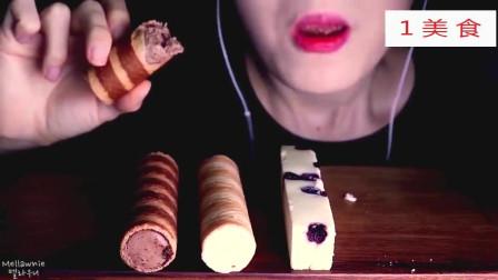 吃芭斯罗缤冰淇淋饼干华夫卷,蓝莓芝士蛋糕条