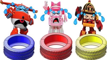 超级飞侠成员挑选轮胎玩具益智动画认颜色