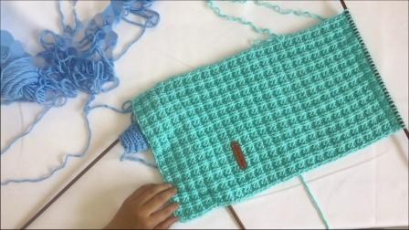 绒尚手工-棒针小方格围巾粗毛线牛奶棉毛线围巾编织教程编织方法图