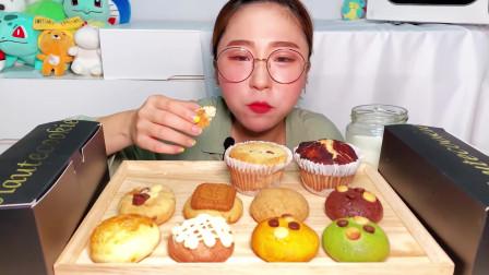 """美女吃播小饼干、曲奇奶酪蛋糕、奶油甜点,对甜品拒绝说""""NO"""""""