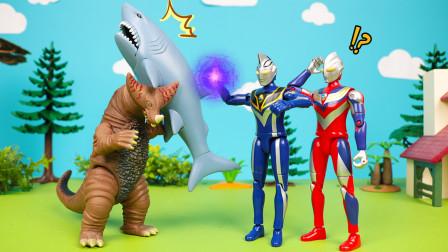 迪迦奥特曼与哥莫拉怪兽帮助大鲨鱼回家