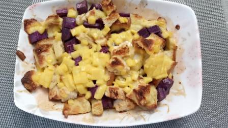 紫薯吐司烤布丁