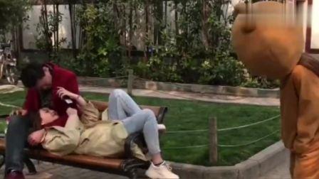 网红熊在公园整蛊秀恩爱的小情侣,拆散一对是一对,真是太逗了