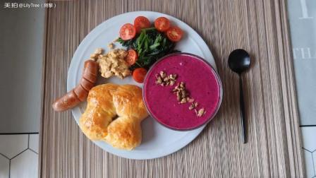 今日的早餐-42 芒果丁面包 香肠, 炒蛋, 菠菜