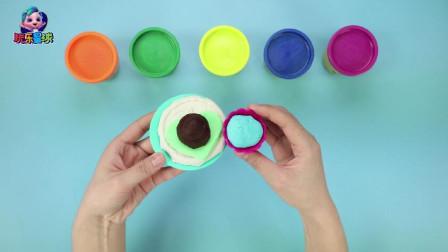 玩乐手工课 绿色彩泥桃心冰淇淋点缀巧克力球手工 亲子互动学颜色