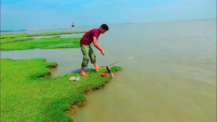 江边好美,小哥悠闲的坐在草地上钓鱼,一会儿从水里拉出一条大鱼