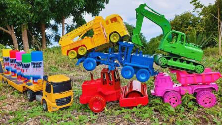 工程车捡到彩色喷雾玩起了换装小游戏趣味故事