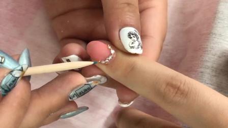 日式美甲教程,粉透钻石美甲款式操作全过程讲解