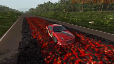 BeamNG.drive汽车模拟:汽车在燃烧的煤上行驶