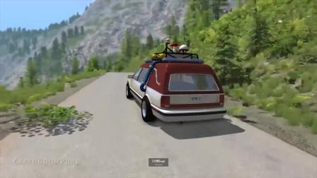 BeamNG:汽车高速碰撞钉条