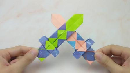 一张纸折出我的世界钻石宝剑,简单几步就搞定!小朋友喜欢的手工