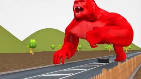 儿童卡通片:大猩猩与大货车发生了