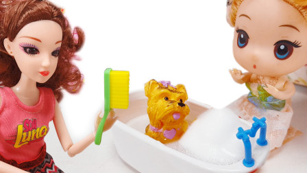 芭比和小斯佩把流浪小狗放进浴缸洗澡澡,用刷子帮它洗的干干净净