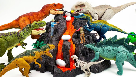 火山爆发出好多恐龙蛋,孵出小恐龙,霸王龙玩具模型