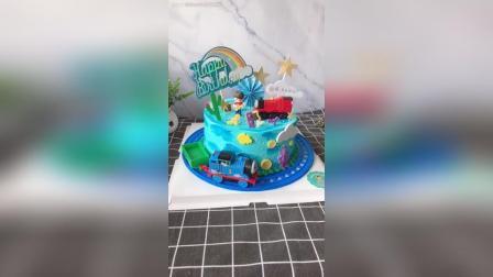 男宝宝, 托马斯主题生日蛋糕, 愿你开心快乐健康成长!