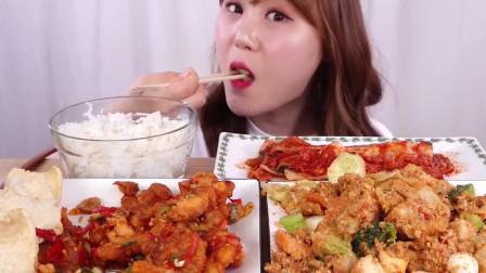 大胃王美食吃播,韩国妹子吃印度尼西亚美食