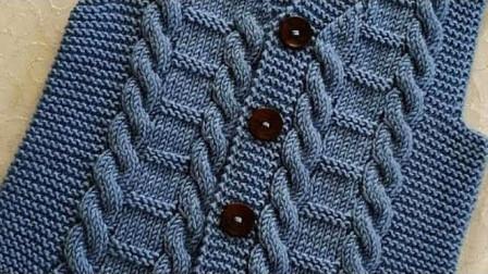 毛衣棒针编织花样,竖向双麻花,立体精致,织背心或外套都不错花样8msXdT