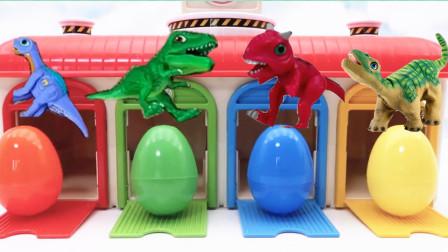 颜色屋里四款惊喜蛋变出小恐龙,霸王龙玩具蛋
