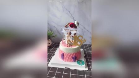 客户送给老婆的生日蛋糕, 花仙子主题, 祝她永远18岁! 生日快乐